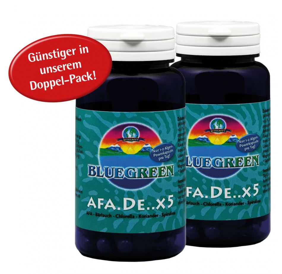 """BLUEGREEN AFA.DE..X5, AFA-Bärlauch-Chlorella """"Pyrenoidosa""""-Koriander-Spirulina 2 x 30g, ca. 120 Kapseln im """"Doppelpack""""  Vega..."""
