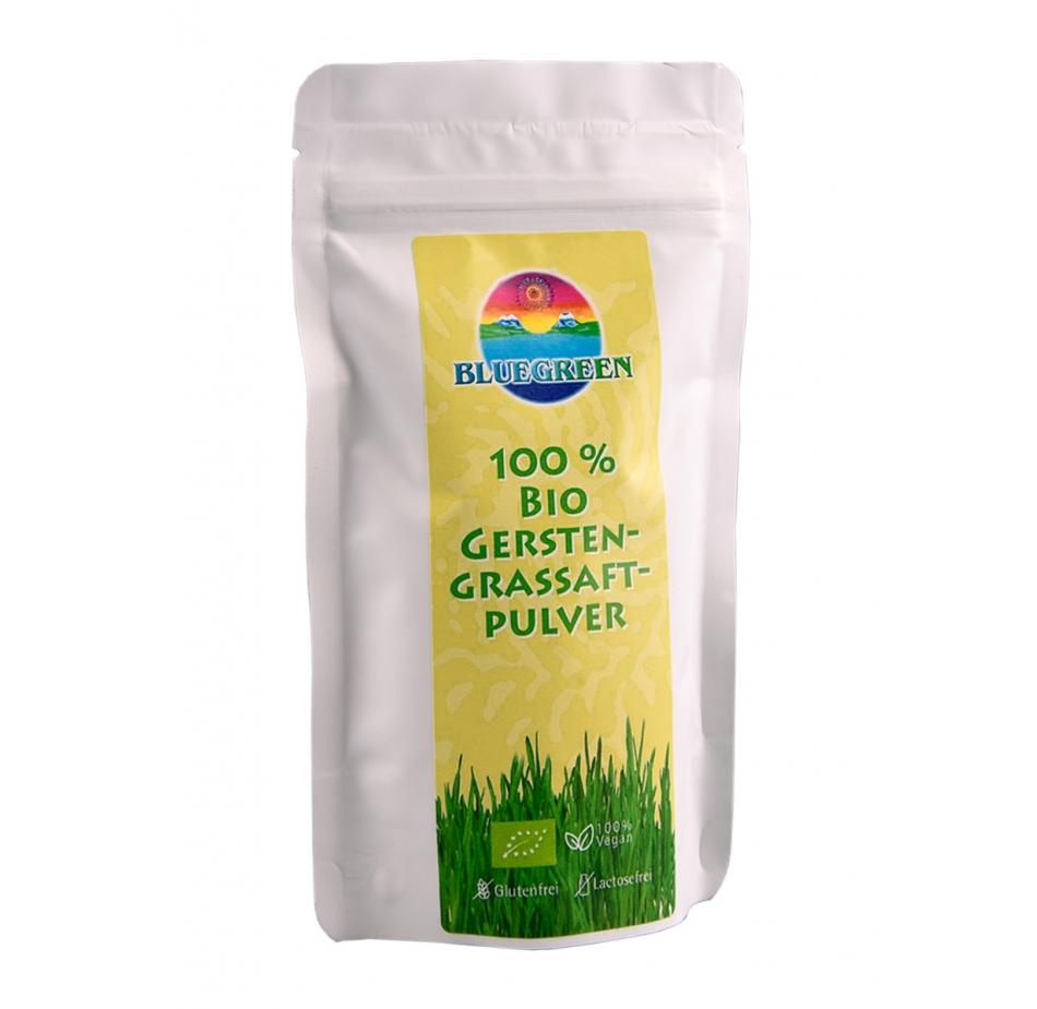 BLUEGREEN BIO GERSTENGRASSAFTPULVER 100 g Inhalt Produkte Smoothie Frucht Pulver