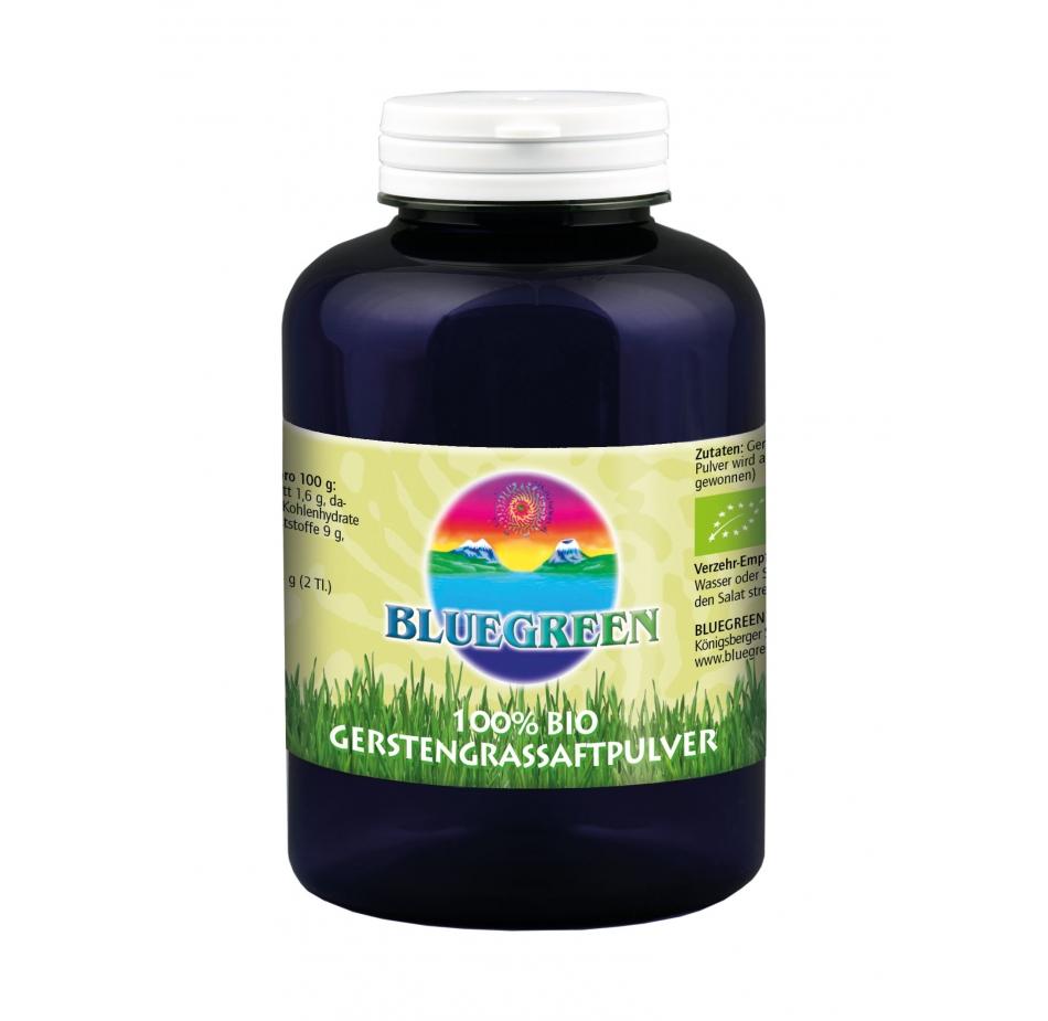 BLUEGREEN BIO GERSTENGRASSAFTPULVER 200 g Inhalt Familienpackung Produkte Smoothie Frucht Pulver