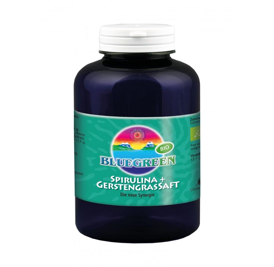 BLUEGREEN BIO Spirulina plus BIO Gerstengrassaftpulver 96g ca. 240 Presslinge Produkte Smoothie Frucht Pulver