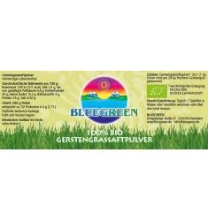 BLUEGREEN BIO GERSTENGRASSAFTPULVER  200 g Inhalt Familienpackung